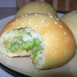Chinese sweet buns with brocolli and cheese fillling