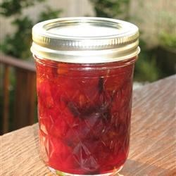 Yummy homemade plum jam from homegrown plums.  Thanks, Dad!