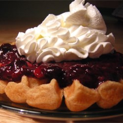 Belgian Waffles with Fruit Sauce and Whipped Cream