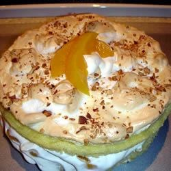 peach sponge and meringue cake