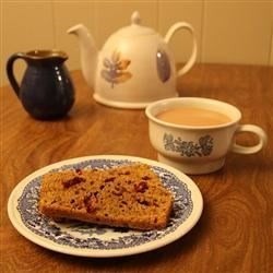 Pumpkin Cranberry Bread and a cup of tea