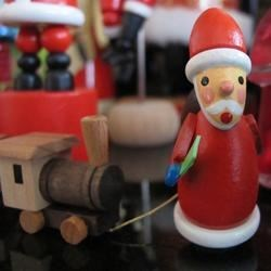 Santa and his wooden train.