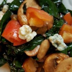warm swiss chard and mushroom salad printer friendly