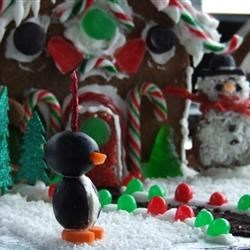 Cream Cheese Penguin in 'yard' of Gingerbread House