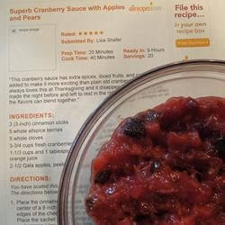 Superb Cranberry Sauce with Apples and Pears Recipe