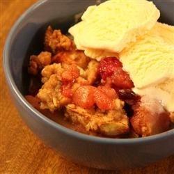 Apple-Cranberry Crisp with ice cream