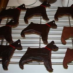 Chocolate Shortbread Doberman Cookies with Fudge Icing