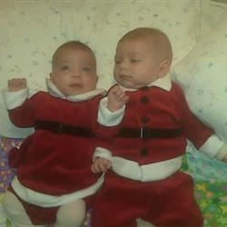 Our twins at Christmas (11 weeks old)