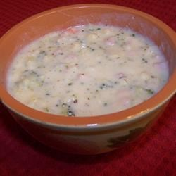 Potato, Ham, Broccoli and Cheese Soup with Baby Dumplings