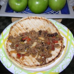 Picadillo leftovers on pita flat bread