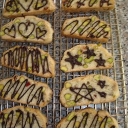 my chocolate decorated pistachio cranberry biscotti
