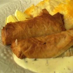 Phyllo-wrapped Halibut Fillets with Lemon Scallion Sauce
