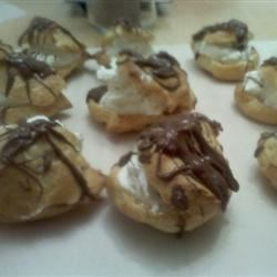Cream puffs filled with whipped cream cheese