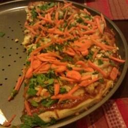 Thai Chicken Pizza with Carrots and Cilantro Recipe