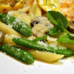 pasta with sugar snap peas parmesan and mushrooms printer