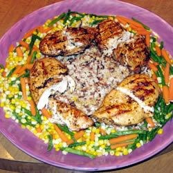 Grilled chicken with rice and veggies