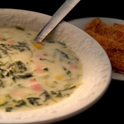 creamy leek and spinach soup printer friendly