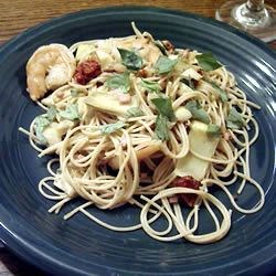 Shrimp with Pasta, Sun-Dried Tomatoes, Artichokes and Basil Bacon Sauce