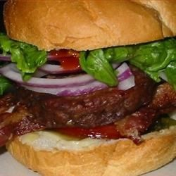 Barbecued Bison Burger with Bacon/Mushrooms/Havarti Jalapeno Cheese