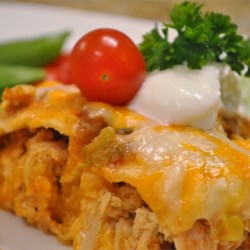 Quick and Easy Green Chile Chicken Enchilada Casserole Recipe