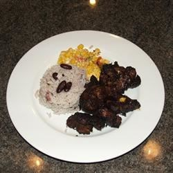 Jerk Pork, Rice 'n' Peas, Corn Saute