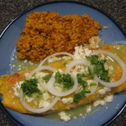 Enchiladas with spanish rice