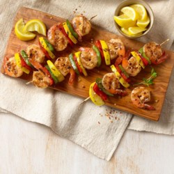 spanish garlic shrimp on skewers printer friendly