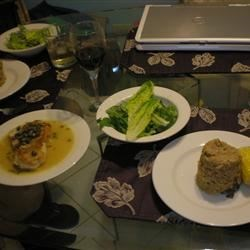 Dinner! Mushroom Risotto, Cod Piccata and Salad!!!!