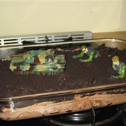Dirt dessert for a GI Joe birthday