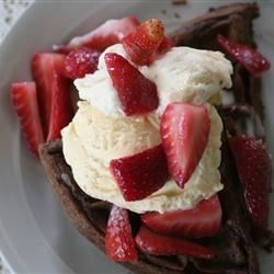 Chocolate waffles with ice cream & strawberries