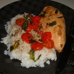 Chicken with Grape Tomatoes and Fried Basil Recipe
