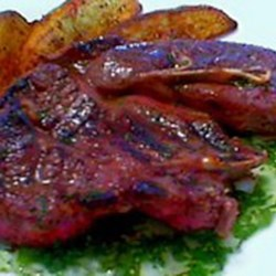 Grilled Lamb Shoulder Chops with Fresh Mint Jelly