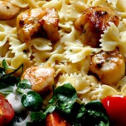 Basil Pan-Seared Scallops over Pasta Recipe