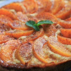 Peach cake recipes allrecipes peach kuchen recipe a dense crust of a cake with peach slices arranged on top forumfinder Image collections