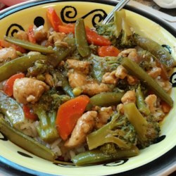 Chicken thigh recipes allrecipes garlic chicken stir fry recipe and video crunchy vegetables and chicken are treated to a forumfinder Image collections