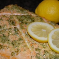 Cedar Plank-Grilled Salmon with Garlic, Lemon and Dill Recipe