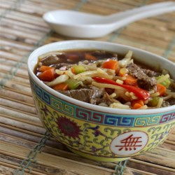 asian themed beef and rice noodle soup printer friendly