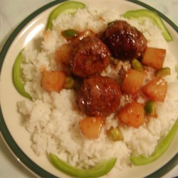 Wikkie meatballs with rice