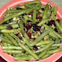 Green beans with walnuts and craisins