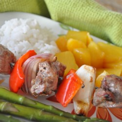 Orange Beef Kabobs with Grilled Fruit Recipe