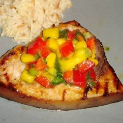 Mango Salsa ontop of Grilled Swordfish
