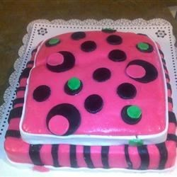 Pink and Black fondant birthday cake.
