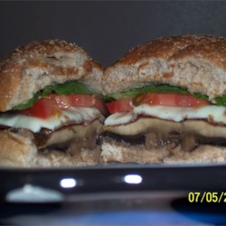 Beths portobello mushroom burger with swiss
