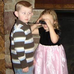 Is she touching my binoculars??