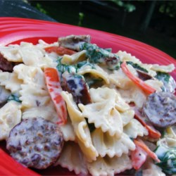 Sausage and Bow-Tie Pasta Florentine