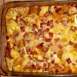 French Ham Cheese and Egg Fondue Casserole Recipe