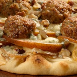 Caramelized Onion Meatballs Pizza with Apple & Gorgonzola