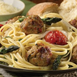 Linguini with Roasted Vegetables and al fresco Tomato & Basil Chicken Meatballs