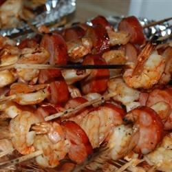 Photo of Sweet and Spicy Shrimp and Chourico Kabobs by Raquel Teixeira