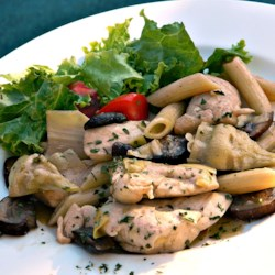 Quick and easy dinner recipes allrecipes chicken pasta with artichoke hearts recipe chicken mushrooms and artichoke hearts are cooked forumfinder Image collections